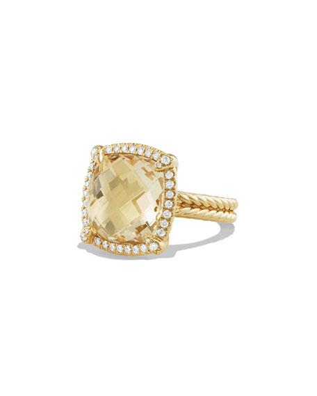 David Yurman 14mm Châtelaine 18K Champagne Citrine Ring with Diamonds, Size 7