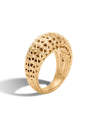 Classic Chain 11mm 18K Gold Dome Ring, Size 7