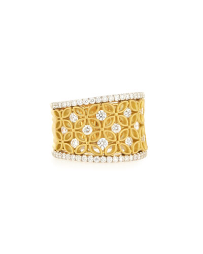 18K White & Yellow Gold Floral Filigree Ring with Diamonds, 1.15 TDW, Size 7