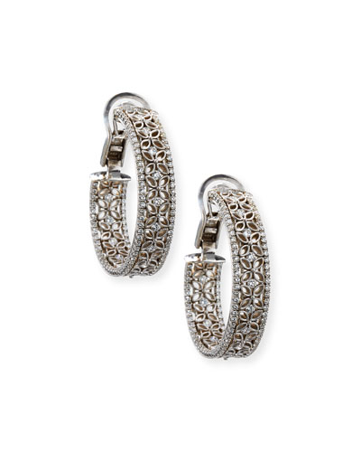 18K White Gold Filigree Hoop Earrings with Diamonds