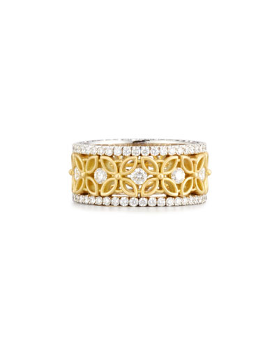 JACK KELEGE & COMPANY 18K White & Yellow Gold Floral Filigree Ring With Diamonds, 1.42 Tdw, Size 7