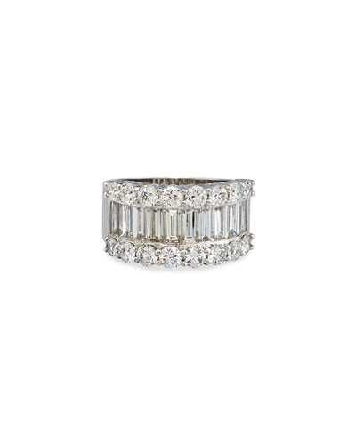 18K White Gold Round & Baguette Diamond Ring, 3.88 TDW, Size 6.5