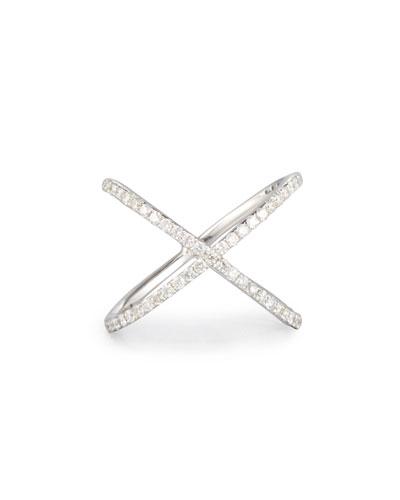 18K White Gold Crisscross Ring with Diamonds
