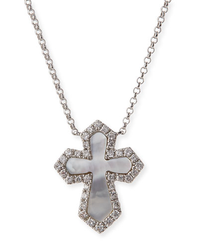 18K White Gold Cross Pendant Necklace with Diamonds