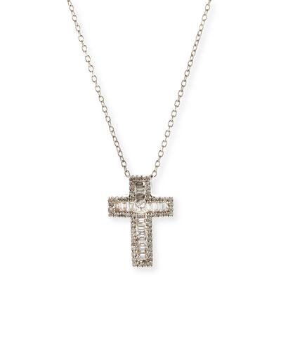 18K White Gold Baguette Diamond Cross Pendant Necklace