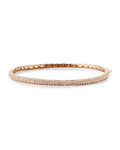 Slim 18K Rose Gold Pavé Diamond Bangle