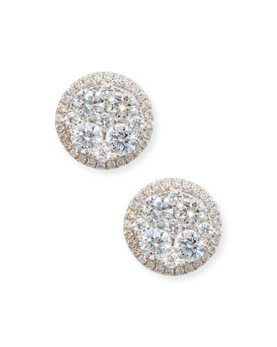 18K White Gold Round Diamond Cluster Earrings