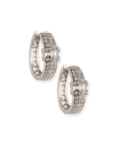 18K White Gold & Diamond Huggie Earrings