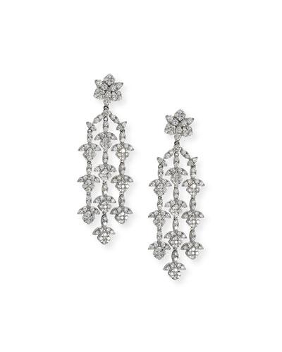 Dangling 18K White Gold Three-Strand Diamond Earrings