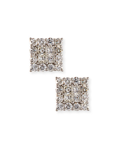18K White Gold Square Diamond Cluster Earrings