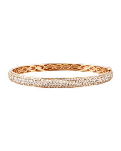 18K Rose Gold Bangle with White Diamonds