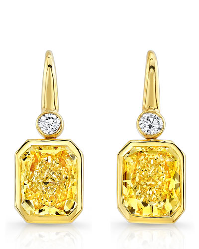 18K Radiant-Cut Fancy Yellow Diamond Earrings