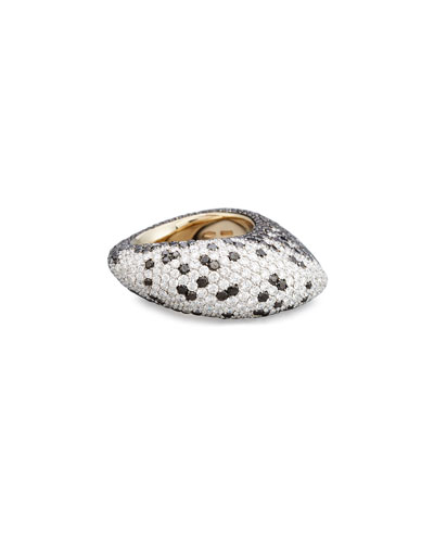 18K White Gold Ring with White and Black Diamonds, Size 7