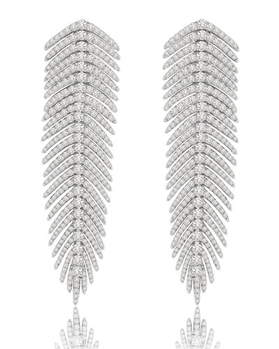 18K White Gold & Diamond Feather Drop Earrings