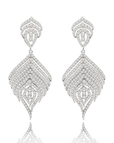 18K White Gold & Diamond Concentric Feather Drop Earring