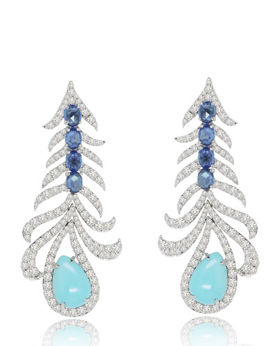 18K White Gold Fishbone Earrings with Turquoise, Sapphires & Diamonds