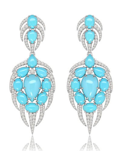Turquoise Cabochon & Diamond Drop Earrings