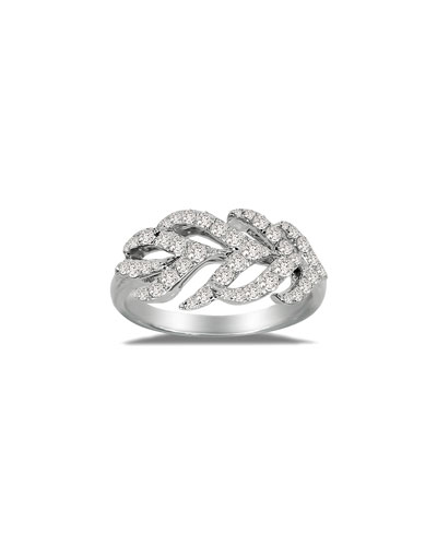 18K White Gold & Diamond Feather Ring, Size 7