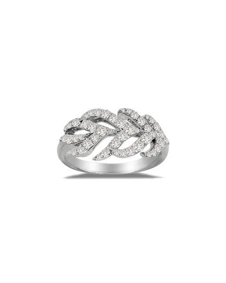 SUTRA 18K White Gold & Diamond Feather Ring, Size 7