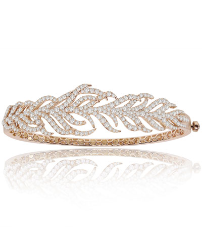 18K Rose Gold & Diamond Feather Cuff Bracelet