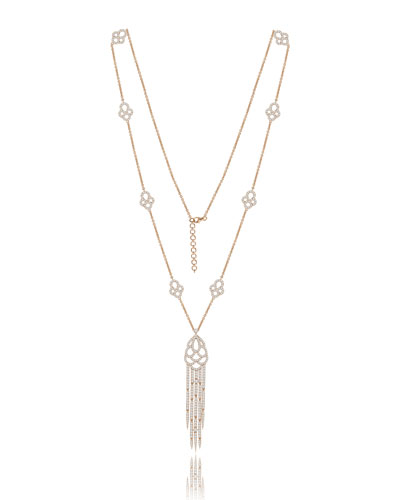 18K Rose Gold Tassel Necklace with Diamonds