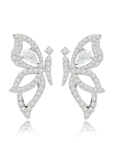 18K White Gold & Diamond Butterfly Earrings