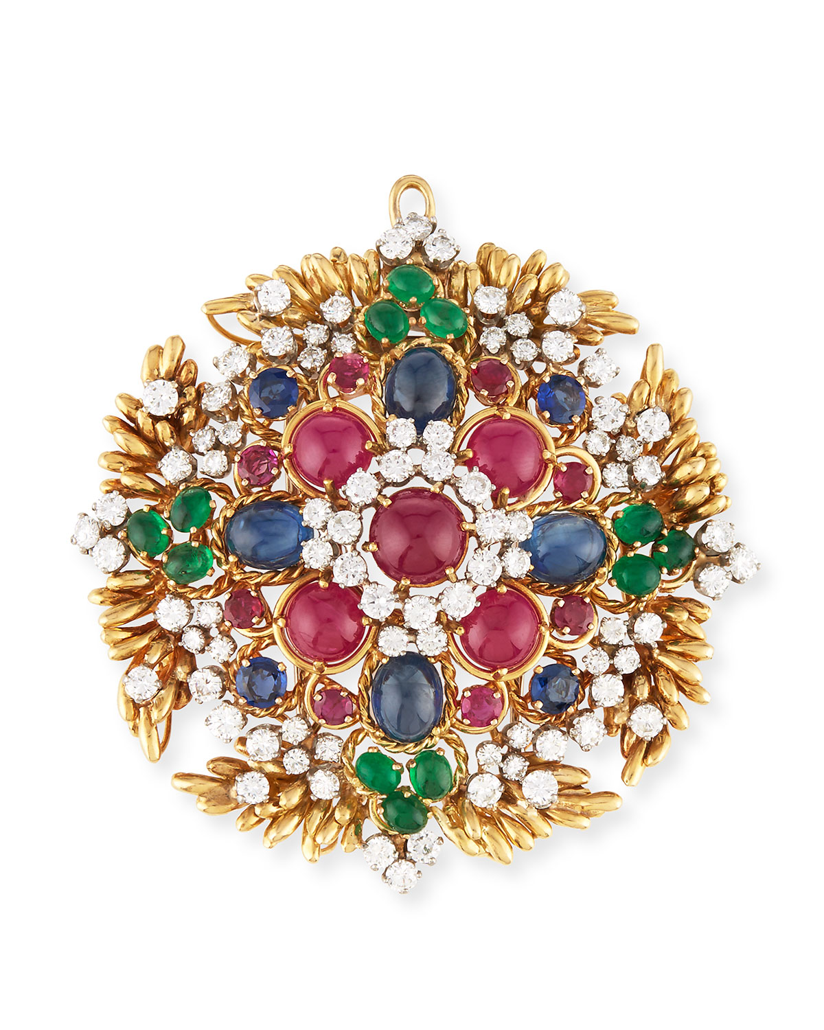 HAYS WORTHINGTON 18K Gold Ruby & Sapphire Cabochon Pendant/Pin With Diamonds in Multi