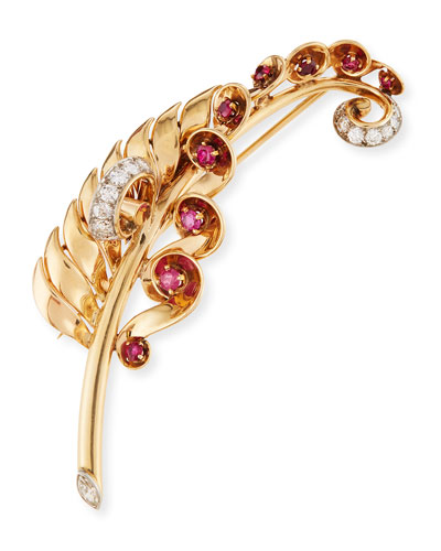 Estate 18K Gold Feather Pin with Rubies & Diamonds