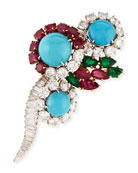 Estate Ruby, Emerald & Turquoise Pin with Diamonds