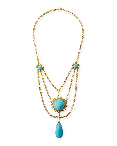 18K Gold & Turquoise Cabochon Necklace