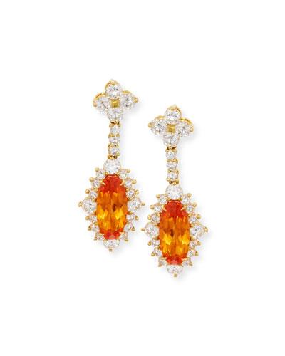 ROBERT ERICH 18K Yellow Gold Mandarin Garnet & Diamond Drop Earrings