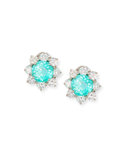 Paraiba Tourmaline & Diamond Button Earrings