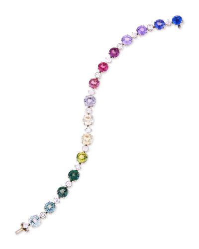 Multicolor Sapphire Station Bracelet with Diamonds