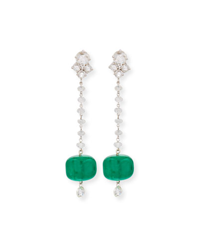18K White Gold Emerald & Diamond Drop Earrings
