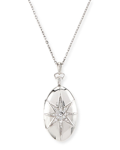 White Sapphire Star Locket Necklace in Sterling Silver