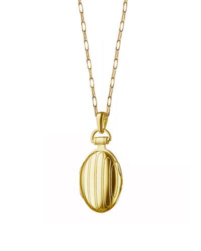 18k Gold Petite Pinstripe Locket, 30