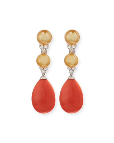 18K White Gold Coral & South Sea Pearl Earrings with Diamonds