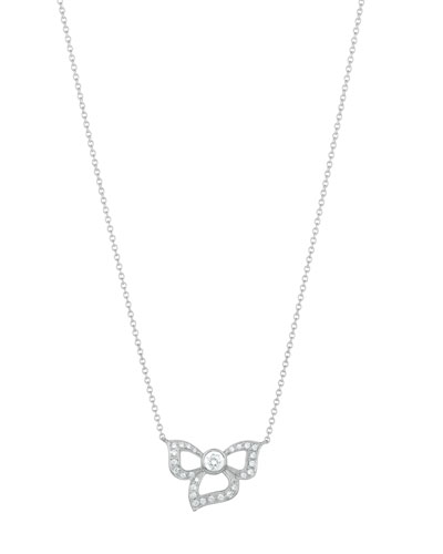18K White Gold Fiorette Diamond Bezel Pendant Necklace