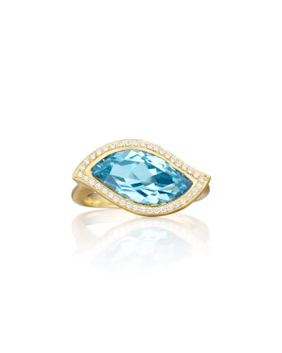 18K Blue Topaz Leaf Ring with Diamonds, Size 7