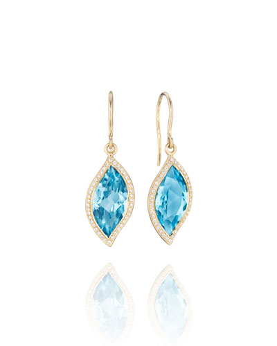18K Leaf Blue Topaz Earrings with Diamonds