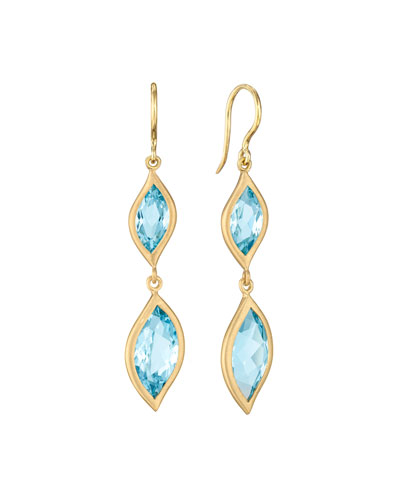18K Yellow Gold & Blue Topaz Leaf Double-Drop Earrings