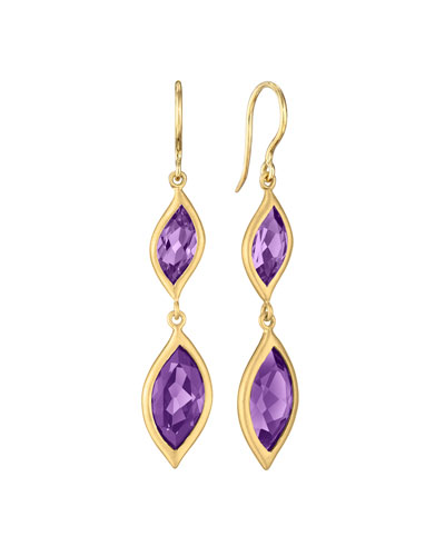 18K Yellow Gold & Amethyst Leaf Double-Drop Earrings