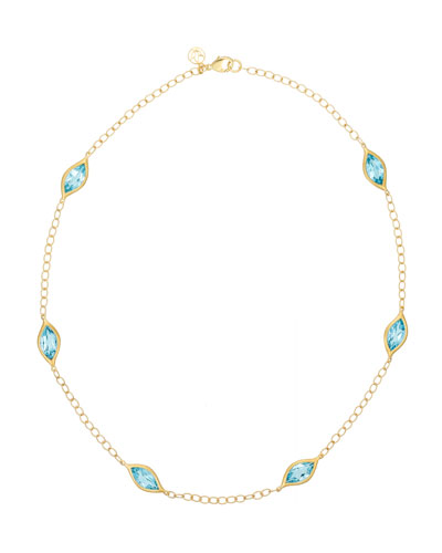 Blue Topaz Leaf Station Necklace