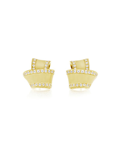 18K Gold Knot Earrings with Diamonds