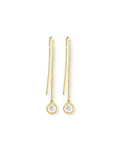 18K Yellow Gold Diamond Melee Drop Earrings