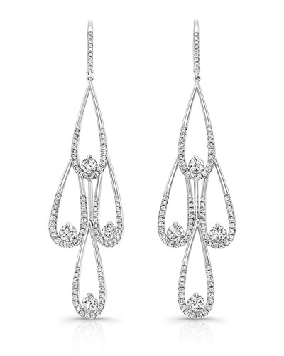 Diamond Teardrop Chandelier Earrings