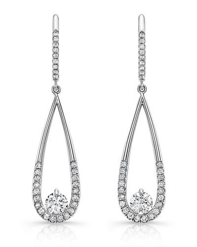 Diamond Illusion Teardrop Earrings in 18K White Gold