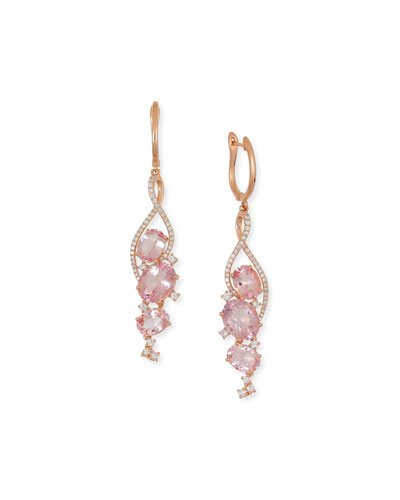 18K Rose Gold & Morganite Chandelier Earrings with Diamonds