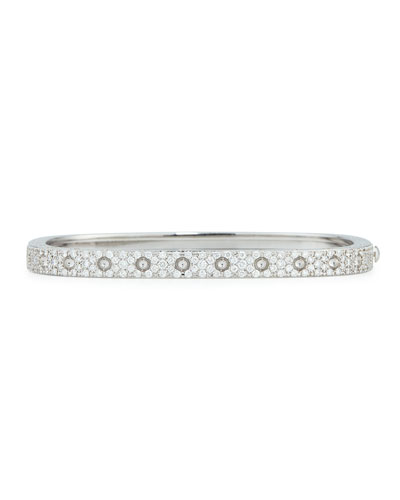 18k White Gold Pois Moi One-Row Pave Diamond Bangle