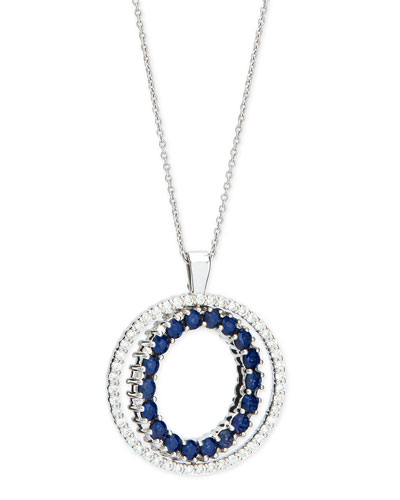 Double-Sided Diamond & Blue Sapphire Pendant Necklace